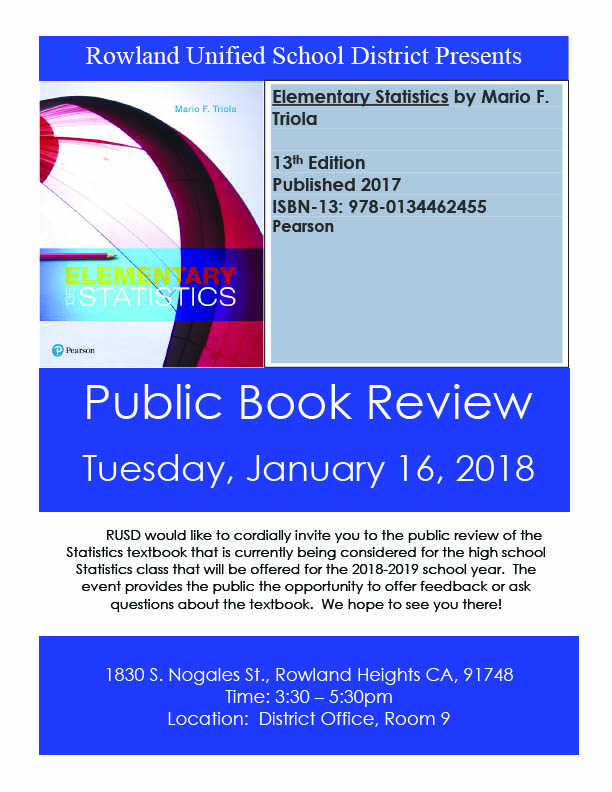 Public Book Review for Statistics Book | Rowland Unified School District